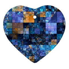 Blue Squares Abstract Background Of Blue And Purple Squares Heart Ornament (two Sides) by Nexatart