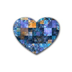 Blue Squares Abstract Background Of Blue And Purple Squares Rubber Coaster (heart)  by Nexatart