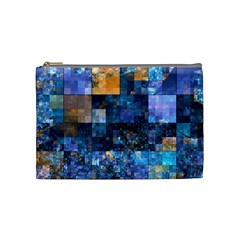 Blue Squares Abstract Background Of Blue And Purple Squares Cosmetic Bag (medium)  by Nexatart