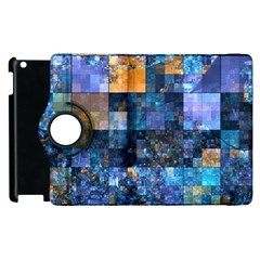 Blue Squares Abstract Background Of Blue And Purple Squares Apple iPad 3/4 Flip 360 Case by Nexatart
