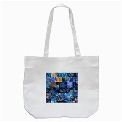 Blue Squares Abstract Background Of Blue And Purple Squares Tote Bag (white) by Nexatart