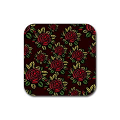 A Red Rose Tiling Pattern Rubber Square Coaster (4 Pack)  by Nexatart