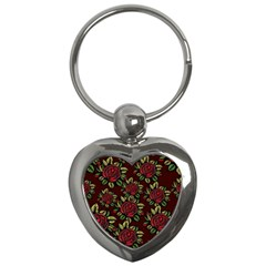 A Red Rose Tiling Pattern Key Chains (heart)  by Nexatart