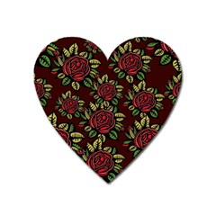 A Red Rose Tiling Pattern Heart Magnet by Nexatart