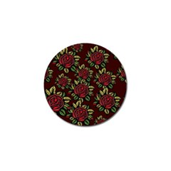 A Red Rose Tiling Pattern Golf Ball Marker by Nexatart