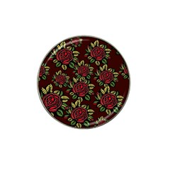 A Red Rose Tiling Pattern Hat Clip Ball Marker by Nexatart