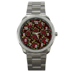 A Red Rose Tiling Pattern Sport Metal Watch by Nexatart