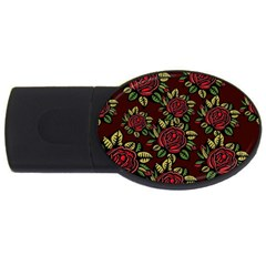 A Red Rose Tiling Pattern Usb Flash Drive Oval (4 Gb) by Nexatart