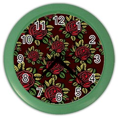 A Red Rose Tiling Pattern Color Wall Clocks by Nexatart
