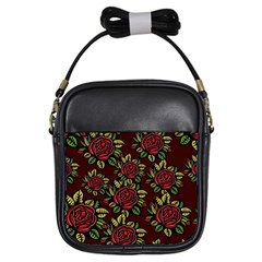 A Red Rose Tiling Pattern Girls Sling Bags by Nexatart