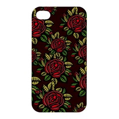 A Red Rose Tiling Pattern Apple Iphone 4/4s Hardshell Case by Nexatart