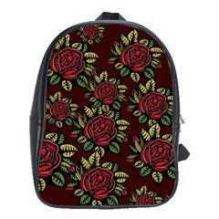 A Red Rose Tiling Pattern School Bags (xl)  by Nexatart
