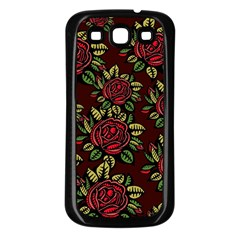 A Red Rose Tiling Pattern Samsung Galaxy S3 Back Case (black) by Nexatart