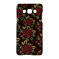 A Red Rose Tiling Pattern Samsung Galaxy A5 Hardshell Case  by Nexatart