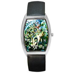 Dark Abstract Bubbles Barrel Style Metal Watch by Nexatart