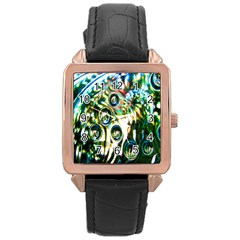 Dark Abstract Bubbles Rose Gold Leather Watch  by Nexatart