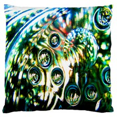 Dark Abstract Bubbles Large Flano Cushion Case (two Sides) by Nexatart