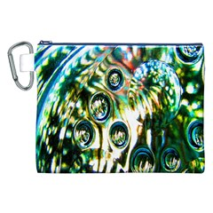 Dark Abstract Bubbles Canvas Cosmetic Bag (xxl) by Nexatart