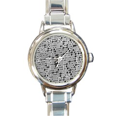 Metal Background With Round Holes Round Italian Charm Watch by Nexatart