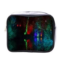 Illuminated Trees At Night Near Lake Mini Toiletries Bags by Nexatart