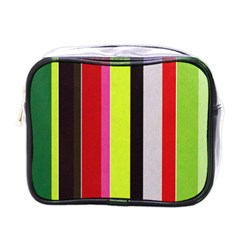 Stripe Background Mini Toiletries Bags by Nexatart