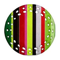 Stripe Background Ornament (round Filigree) by Nexatart