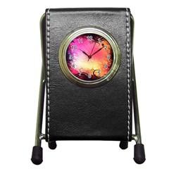 Floral Frame Surrealistic Pen Holder Desk Clocks by Nexatart