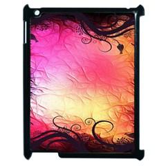 Floral Frame Surrealistic Apple iPad 2 Case (Black) by Nexatart