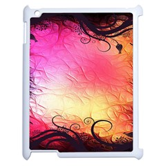 Floral Frame Surrealistic Apple Ipad 2 Case (white) by Nexatart