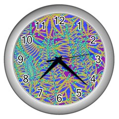 Abstract Floral Background Wall Clocks (silver)  by Nexatart