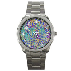 Abstract Floral Background Sport Metal Watch by Nexatart