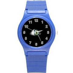 Eye On The Black Background Round Plastic Sport Watch (s) by Nexatart