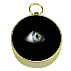 Eye On The Black Background Gold Compasses by Nexatart