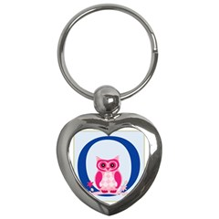 Alphabet Letter O With Owl Illustration Ideal For Teaching Kids Key Chains (heart)  by Nexatart