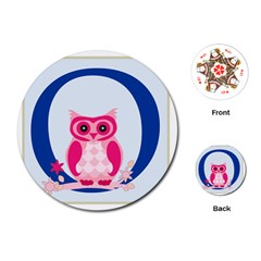 Alphabet Letter O With Owl Illustration Ideal For Teaching Kids Playing Cards (round)