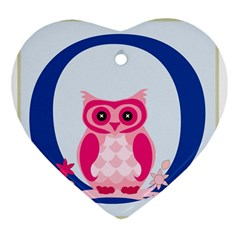 Alphabet Letter O With Owl Illustration Ideal For Teaching Kids Heart Ornament (two Sides) by Nexatart