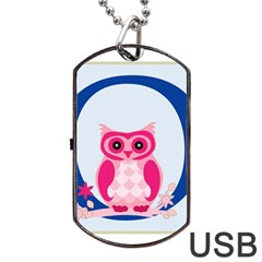 Alphabet Letter O With Owl Illustration Ideal For Teaching Kids Dog Tag Usb Flash (one Side) by Nexatart