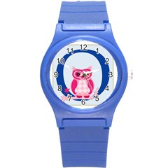 Alphabet Letter O With Owl Illustration Ideal For Teaching Kids Round Plastic Sport Watch (s) by Nexatart