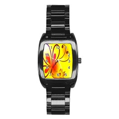 Butterfly Background Wallpaper Texture Stainless Steel Barrel Watch by Nexatart