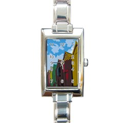 Brightly Colored Dressing Huts Rectangle Italian Charm Watch by Nexatart