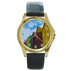 Brightly Colored Dressing Huts Round Gold Metal Watch by Nexatart