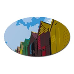 Brightly Colored Dressing Huts Oval Magnet by Nexatart