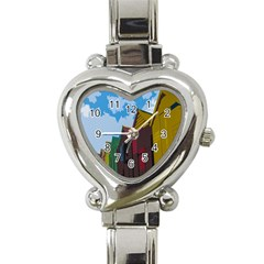 Brightly Colored Dressing Huts Heart Italian Charm Watch by Nexatart