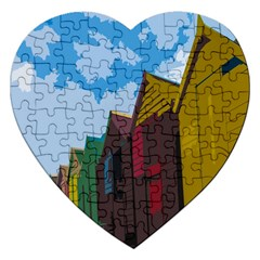 Brightly Colored Dressing Huts Jigsaw Puzzle (heart) by Nexatart