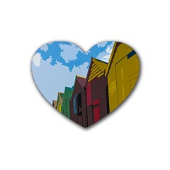Brightly Colored Dressing Huts Heart Coaster (4 Pack)  by Nexatart
