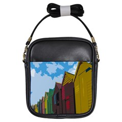 Brightly Colored Dressing Huts Girls Sling Bags by Nexatart