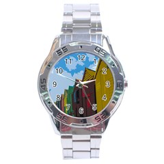 Brightly Colored Dressing Huts Stainless Steel Analogue Watch by Nexatart