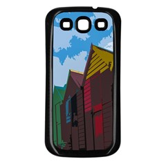Brightly Colored Dressing Huts Samsung Galaxy S3 Back Case (black) by Nexatart