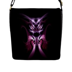 Angry Mantis Fractal In Shades Of Purple Flap Messenger Bag (l)  by Nexatart