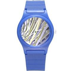 Wavy Ribbons Background Wallpaper Round Plastic Sport Watch (s) by Nexatart